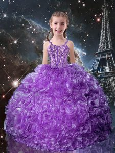 Eggplant Purple Ball Gowns Beading and Ruffles Little Girl Pageant Gowns Lace Up Organza Sleeveless Floor Length