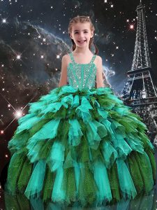 Best Turquoise Sleeveless Floor Length Beading and Ruffles Lace Up Pageant Gowns For Girls