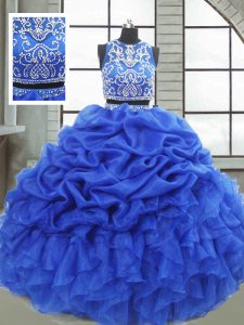 Chic Sleeveless Zipper Floor Length Beading and Ruffles and Pick Ups Sweet 16 Quinceanera Dress