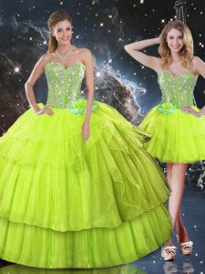 Floor Length Ball Gowns Sleeveless Yellow Green Sweet 16 Quinceanera Dress Lace Up