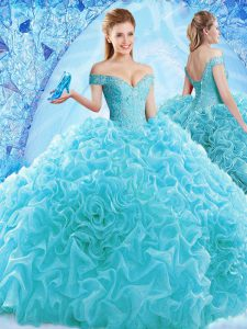 Fine Ball Gowns Cap Sleeves Aqua Blue Sweet 16 Dress Brush Train Lace Up