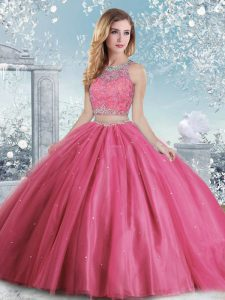 Customized Hot Pink Ball Gowns Beading and Sequins Quinceanera Gowns Clasp Handle Tulle Sleeveless Floor Length