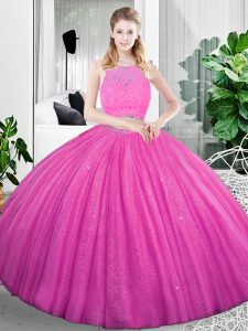 Simple Organza Scoop Sleeveless Zipper Lace and Ruching Vestidos de Quinceanera in Fuchsia
