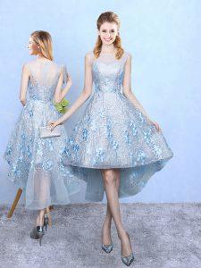 Scoop Sleeveless Zipper Dama Dress Light Blue Tulle and Printed