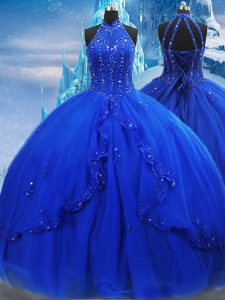 Dynamic Royal Blue Sleeveless Tulle Brush Train Lace Up 15th Birthday Dress for Military Ball and Sweet 16 and Quinceanera