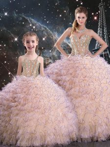 Peach Ball Gowns Organza Sweetheart Sleeveless Beading and Ruffles Floor Length Lace Up Quinceanera Dresses