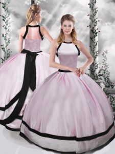 Beautiful Pink Ball Gowns Ruching Vestidos de Quinceanera Zipper Taffeta Sleeveless Floor Length