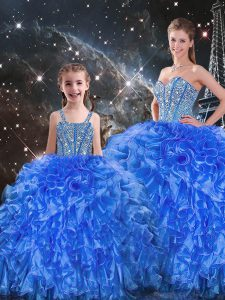 Custom Design Sweetheart Sleeveless Lace Up Quinceanera Gowns Royal Blue Organza