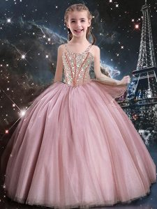 Floor Length Ball Gowns Sleeveless Baby Pink Little Girls Pageant Gowns Lace Up