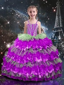 Floor Length Lace Up Little Girls Pageant Dress Multi-color for Quinceanera and Wedding Party with Beading and Ruffled Layers