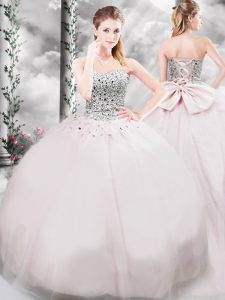 Cheap Tulle Sleeveless Quinceanera Gown Brush Train and Beading and Bowknot