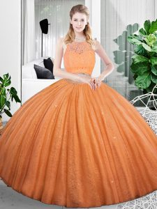 Deluxe Organza Scoop Sleeveless Zipper Lace and Ruching 15 Quinceanera Dress in Orange