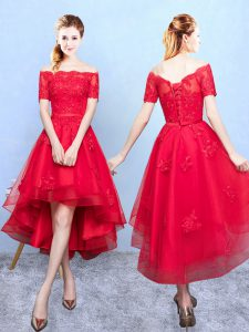 Custom Made Half Sleeves Organza High Low Lace Up Dama Dress for Quinceanera in Wine Red with Appliques