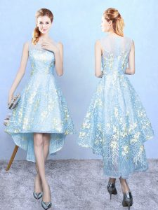 Aqua Blue Zipper Square Embroidery Vestidos de Damas Organza Sleeveless