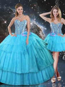 Aqua Blue Sleeveless Organza Lace Up Quince Ball Gowns for Military Ball and Sweet 16 and Quinceanera