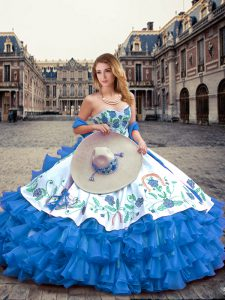 Ball Gowns Sweet 16 Quinceanera Dress Blue And White Sweetheart Organza and Taffeta Sleeveless Floor Length Lace Up