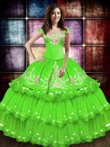 Sleeveless Taffeta Lace Up Ball Gown Prom Dress for Military Ball and Sweet 16 and Quinceanera