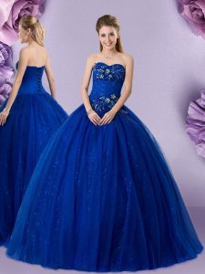 Floor Length Lace Up Sweet 16 Quinceanera Dress Royal Blue for Military Ball and Sweet 16 and Quinceanera with Beading and Appliques