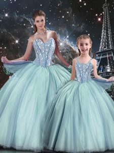Discount Light Blue Lace Up Sweetheart Beading 15 Quinceanera Dress Tulle Sleeveless