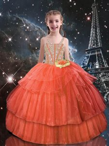 Orange Red Child Pageant Dress Quinceanera and Wedding Party with Beading and Ruffled Layers Straps Short Sleeves Lace Up