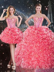 Superior Sweetheart Sleeveless Lace Up 15th Birthday Dress Coral Red Organza