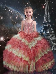 Dramatic Watermelon Red Ball Gowns Straps Short Sleeves Organza Floor Length Lace Up Beading and Ruffled Layers Pageant Gowns For Girls
