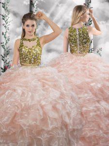 Floor Length Peach Sweet 16 Dresses Organza Sleeveless Beading and Ruffles