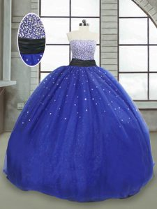 Perfect Royal Blue Ball Gowns Strapless Sleeveless Tulle Floor Length Lace Up Beading and Sequins Quince Ball Gowns