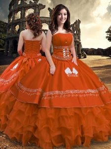 Sleeveless Embroidery and Ruffled Layers Zipper Quinceanera Gown