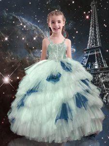 Sleeveless Beading and Ruffled Layers Lace Up Child Pageant Dress