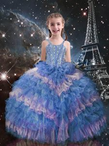 Stylish Light Blue Sleeveless Beading and Ruffled Layers Floor Length Pageant Gowns For Girls
