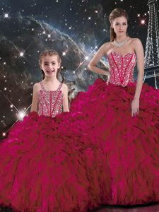 Best Ball Gowns Quinceanera Gowns Burgundy Sweetheart Organza Sleeveless Floor Length Lace Up