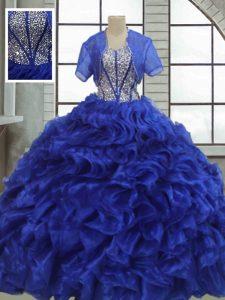 Amazing Floor Length Royal Blue Vestidos de Quinceanera Organza Short Sleeves Ruffles