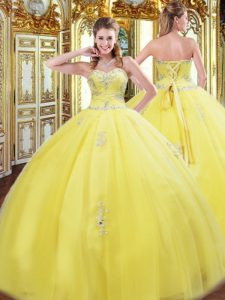 Customized Sweetheart Sleeveless 15th Birthday Dress Floor Length Beading and Appliques Yellow Tulle