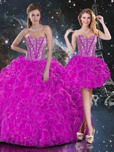 Top Selling Fuchsia Ball Gowns Sweetheart Sleeveless Organza Floor Length Lace Up Beading and Ruffles Sweet 16 Dresses