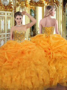 Wonderful Sleeveless Lace Up Floor Length Beading and Ruffles 15 Quinceanera Dress