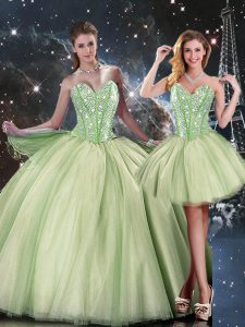 Yellow Green Sleeveless Beading Floor Length Quinceanera Dresses