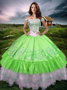 Sleeveless Lace Up Floor Length Beading and Embroidery and Ruffled Layers Quinceanera Dress