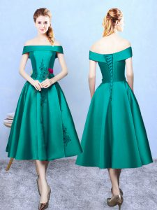 Glorious Dark Green Sleeveless Taffeta Lace Up Dama Dress for Prom and Party