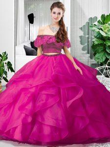 Sleeveless Lace and Ruffles Lace Up Sweet 16 Dress