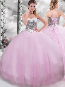 Simple Sleeveless Tulle Brush Train Lace Up Quinceanera Gown in Lilac with Beading
