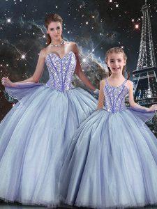 Hot Sale Sweetheart Sleeveless Ball Gown Prom Dress Floor Length Beading Lavender Tulle