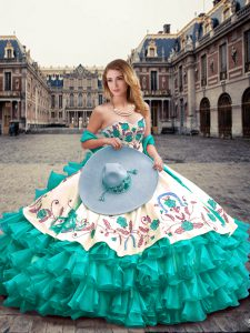 High End Sleeveless Embroidery and Ruffled Layers Lace Up 15 Quinceanera Dress