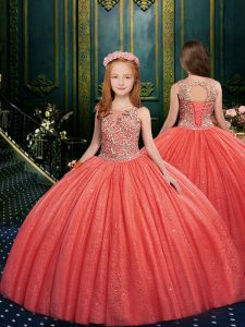 Cheap Sleeveless Lace Up Floor Length Appliques Child Pageant Dress