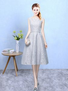 Superior Tea Length Grey Quinceanera Court Dresses Lace Sleeveless Lace