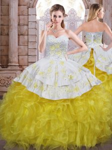 New Arrival Beading and Appliques and Ruffles Ball Gown Prom Dress Yellow And White Lace Up Sleeveless Floor Length