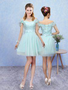 Charming Aqua Blue Short Sleeves Lace Mini Length Quinceanera Dama Dress