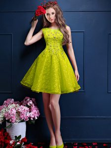 Custom Designed Knee Length Lace Up Dama Dress for Quinceanera Yellow Green for Prom and Party with Beading and Lace