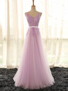 Suitable Sleeveless Tulle Floor Length Lace Up Court Dresses for Sweet 16 in Lilac with Appliques