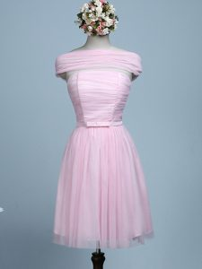 Baby Pink Empire Belt Dama Dress for Quinceanera Side Zipper Tulle Sleeveless Mini Length